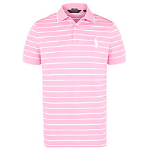 Buy Polo Golf by Ralph Lauren Stripe Large Logo Polo Shirt, Hampton Pink/White Online at johnlewis.com