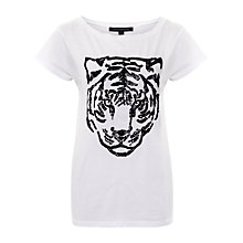 Buy French Connection Tiger Sequin T-Shirt, White/Black Online at johnlewis.com