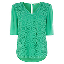Buy Wishbone Sandy Broderie Top, Mid Green Online at johnlewis.com