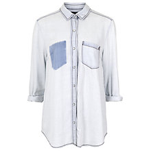 Buy French Connection Dolly Drape Denim Shirt, Super Sunbleach Online at johnlewis.com