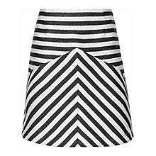 Buy Reiss Contrast Stripe A-Line Skirt, Black/White Online at johnlewis.com