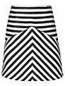 Reiss Contrast Stripe A-Line Skirt, Black/White