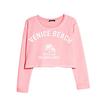 Buy Mango Printed Text Cropped Sweatshirt Online at johnlewis.com