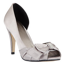 Buy John Lewis Exposed Peep Toe Court Shoes, Silver Online at johnlewis.com