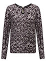 John Lewis Capsule Collection Keyhole Print Blouse, Black/Grey