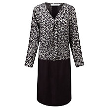 Buy John Lewis Capsule Collection Waterfall Neck Tunic Dress, Black/Grey Online at johnlewis.com