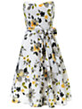 Ariella Amber Crinkled Chiffon Floral Dress, White/Yellow