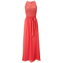 Buy Ariella Rachel Lace And Chiffon Long Dress, Coral Online at johnlewis.com