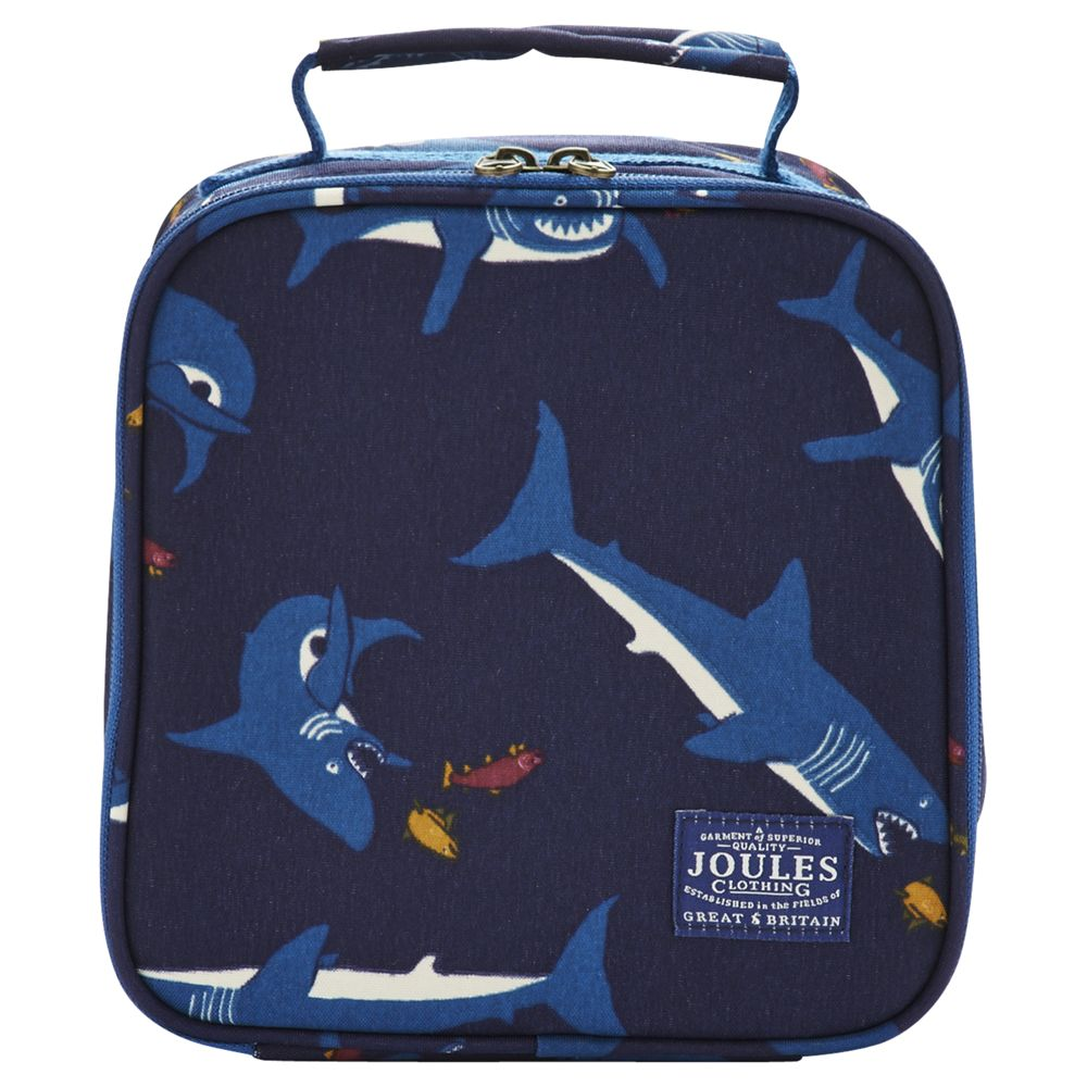 Little Joule Shark Print Lunchbag, Navy