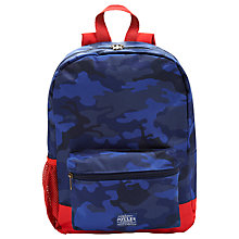 Buy Little Joule Camouflage Print Backpack, Navy/Orange Online at johnlewis.com