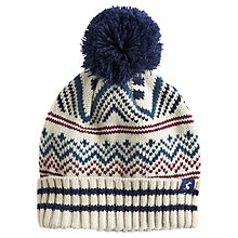 Buy Little Joule Liam Fairisle Bobble Hat, Cream Online at johnlewis.com