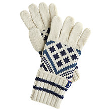 Buy Little Joule Children's Liam Fair Isle Gloves, Cream Online at johnlewis.com