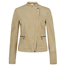 Buy Hobbs London Mary Suede Biker, Mocha Online at johnlewis.com
