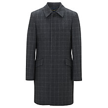 Buy John Lewis Italian Wool Windowpane Check Coat, Grey Online at johnlewis.com