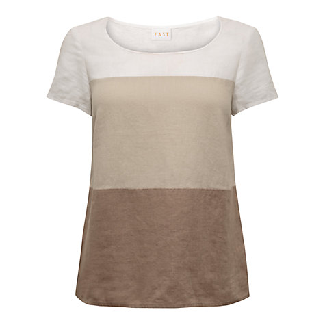 Buy East Colourblock Linen T-Shirt, Stone Online at johnlewis.com