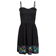 Buy Whistle & Wolf Black Embroidered Button Front Dress, Black Online at johnlewis.com