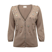 Buy East Button Cardigan, Stone Online at johnlewis.com