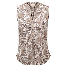 Buy East Samode Print Sleeveless Shirt, White Online at johnlewis.com