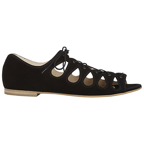 Buy NW3 by Hobbs Lulu Leather Sandals, Black Online at johnlewis.com