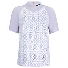Buy Closet Lace Front Collar Top, Lilac Online at johnlewis.com