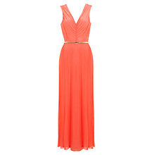 Buy Miss Selfridge Plisse V-Neck Maxi Dress, Peach Online at johnlewis.com