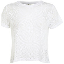 Buy Miss Selfridge Tile Burnout Top, White Online at johnlewis.com
