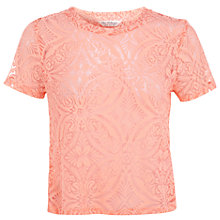 Buy Miss Selfridge Tile Burnout Top, Coral Online at johnlewis.com