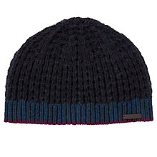 Buy Ted Baker Masham Stripe Beanie, One Size, Charcoal Online at johnlewis.com