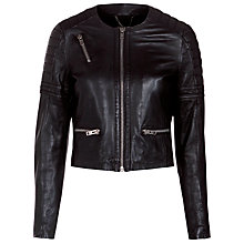 Buy Muubaa Tescino Quilted Biker Jacket, Black Online at johnlewis.com
