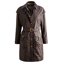 Buy Joules Catherine Long Wax Coat, Dark Brown Online at johnlewis.com
