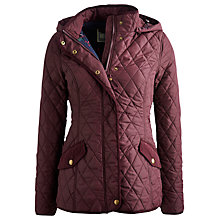 Buy Joules Marcotte Hooded Quilt Jacket, Burgundy Online at johnlewis.com