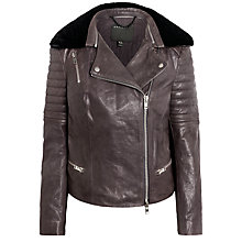 Buy Muubaa Santara Shearling Collar Jacket, Lead Grey Online at johnlewis.com