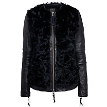Buy Muubaa Cowra Shearling Biker Jacket, Black Online at johnlewis.com