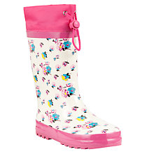 Buy John Lewis Floral Print Wellington Boots, Cream/Pink Online at johnlewis.com
