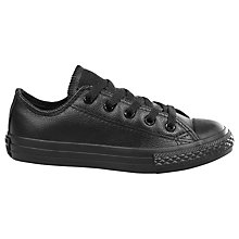 Buy Converse Children's Ctas Mono Low Ankle Leather Trainers, Black Online at johnlewis.com
