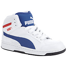 Buy Puma Children's Rebound V2 Hi-Top Trainers, White/Blue Online at johnlewis.com