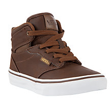 Buy Vans Childrens' Atwood Hi-Top Trainers, Brown Online at johnlewis.com