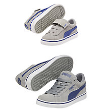 Buy Puma S Vulc Children's Trainers, Grey/Blue Online at johnlewis.com