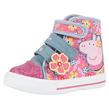 Buy Peppa Pig Canvas Hi-Top Trainers, Pink Online at johnlewis.com