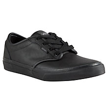 Buy Vans Children's Atwood Leather Trainers, Black Online at johnlewis.com