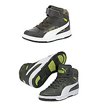 Buy Puma Children's Rebound V2 Hi-Top Trainers, Green/White Online at johnlewis.com