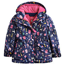 Buy Little Joules Girls' Kirtsite Waterproof Horse Print Coat, Navy Online at johnlewis.com