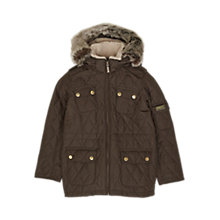 Buy Barbour Girls' Hatton Quilt Parka Coat, Olive Online at johnlewis.com