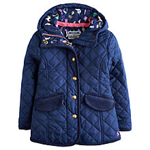 Buy Little Joule Girls' Marcotte Quilted Hooded Coat, Navy Online at johnlewis.com