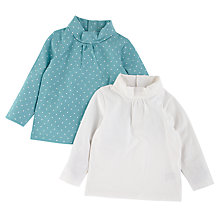 Buy John Lewis Roll Neck Top, Pack of 2, Cream/Green Online at johnlewis.com