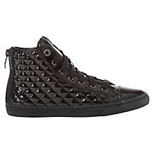Buy Geox New Club High Top Patent Leather Trainers, Black Patent Online at johnlewis.com