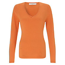 Buy John Lewis Cashmere V-Neck Jumper, Tangerine Online at johnlewis.com