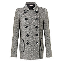 Buy John Lewis Pea Coat, Black/White Online at johnlewis.com