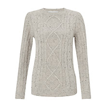 Buy John Lewis Cable Crew Neck Jumper, Hibiscus Pink Online at johnlewis.com