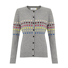 Buy Collection WEEKEND by John Lewis Heart Stripe Cardigan, Grey Multi Online at johnlewis.com